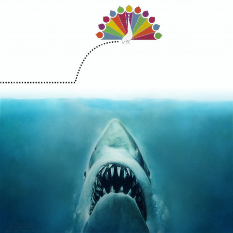 A vintage NBC peacock jumps the shark from Jaws.